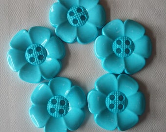 Lot of 5 Extra Large Flower Buttons - Pale Turquoise