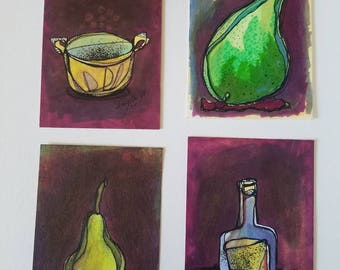 Romantic Kitchen - SET of four original aceo drawings