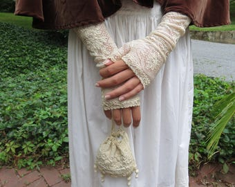 Fingerless White Lace Victorian Elbow Length Gloves