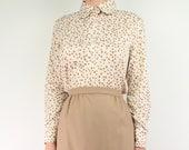 VINTAGE Polka Dot Blouse Round Collar Shirt Brown Cream 1960s