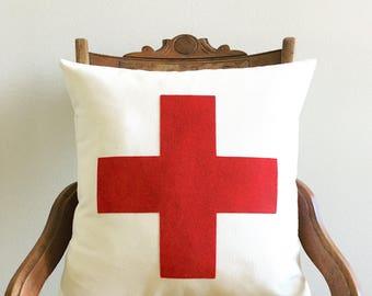 swiss cross throw pillow cover, rustic decor, natural farmhouse, accent pillow, rustic, dorm decor, fall home decor