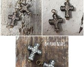 SALE Italian Flea market Vintage Style rustic silver brown patina wire wrapped Dangle drop Crosses Clear crystal pave Rhinestone encrusted 2