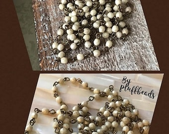 ON SALE Handmade Linked Beaded Chain 4mm Opaque CREMA Faceted European Glass Beads