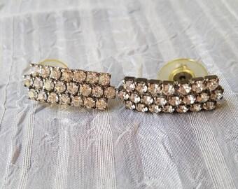 Vintage Silver Tone Clear Rhinestones Earrings Faceted For Pierced Ears Bride Bridal Something Old