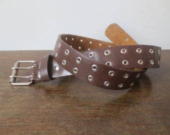 Vintage '60s Bonded Leather Belt w/ Dual Rows of Grommets & Double Prongs, 30 - 32 Inch Waist