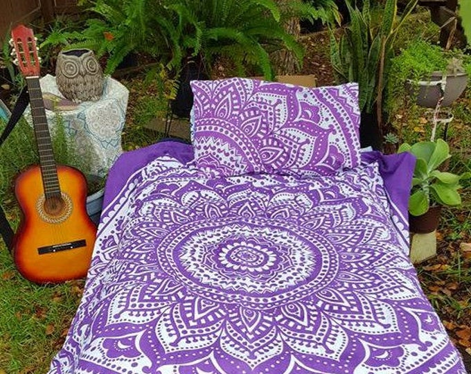 Purple Haze Indian Mandala Duvet Cover Set or Flat Sheet Set Hippie Bedding Boho Bedding Dorm Decor Gypsy Bedding Beach Bedding