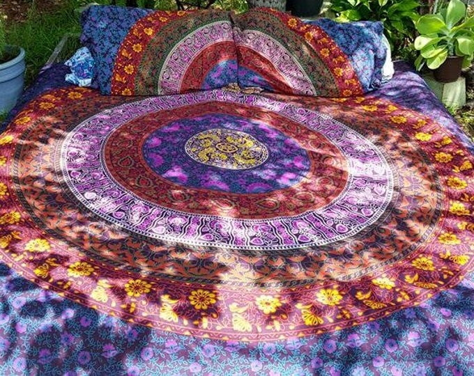 Traditional Mandala Bedding Duvet Cover Set or Flat Sheet Set Hippie Boho Bedding Festival Gear Beach Gypsy Teenage Bedding Dorm Decor