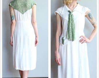 1930s Dress // La Roma Rayon Dress // vintage 30s dress