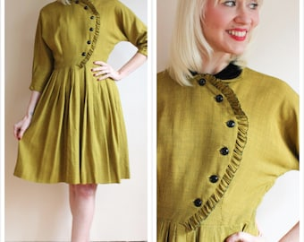 1950s Dress // Gold Brick Jonathan Logan Dress // vintage 50s dress