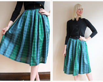 1950s Skirt // Multicolor Plaid Skirt // vintage 50s skirt