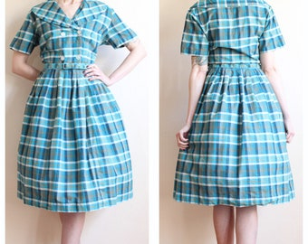 1950s Dress // Station Wagon Casual Plaid Dress // vintage 50s dress