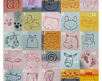 Pick 9pcs 20mm Acrylic Soap Stamps / Cookie Stamp (#1~#25 Limited Quantity)