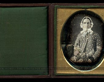 Very Early 1840s Daguerreotype Photo Woman w Potted Flowers