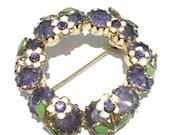 Purple Rhinestone Circle Brooch with White Enamel Flowers on Gold Tone - Vintage Jewelry