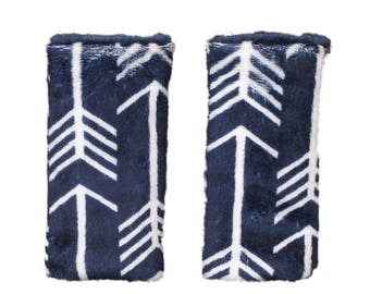 Car seat strap covers, padded strap covers, reversible strap coversInfant Car seat strap Covers- Navy minky arrows- Ships Todayt