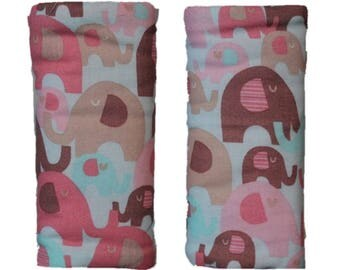 Car seat strap covers, padded strap covers, reversible strap covers, girl Car Seat Strap Covers, coral elephant strap covers