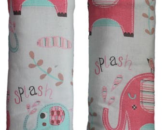 Car seat strap covers, padded strap covers, reversible strap covers, Car Seat Strap Covers, elephant strap covers