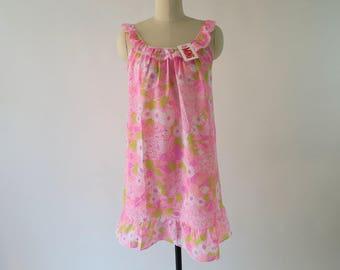 DEADSTOCK 1960s Pink Flower Power Nightie / Vintage Baby Doll Slip