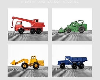 FLASH SALE til MIDNIGHT Set of Four Construction Digger Photo Prints in Primary Colors on White and Grey , Boys Room decor, Construction Tru