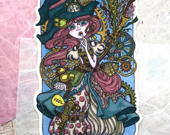 Steampunk Witch - Vinyl Sticker of original illustration