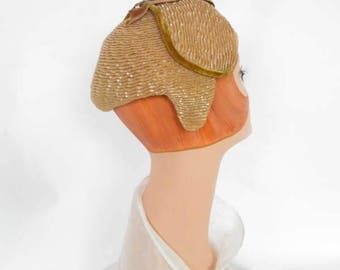 Gold Gage hat, vintage with rhinestones, velvet trim