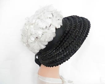 1960s woman's hat, vintage black straw white flowers, Audrey style
