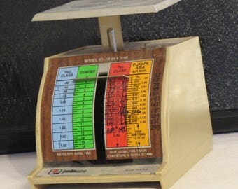 vintage Metal Postal Scale for desktop by Pelouze Scale Co