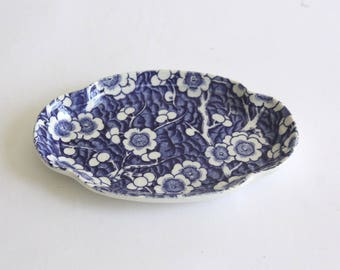 Small Vintage Blue and White Staffordshire Ceramic Dish