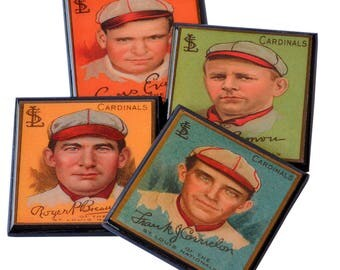 St Louis Cardinals Baseball Card Coaster Set Wood Coasters Father's Day Gift Baseball Coach Man Cave Sports Game Room Decor Vintage Baseball