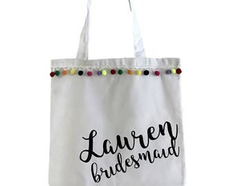 Personalized Pom Pom Tote Bag Bridesmaids Bachelorette Trip Fiesta