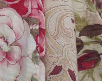 Pretty Bundle Vintage Antique French Fabric 1930s Country Roses Soft Cotton