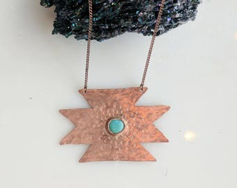 Turquoise and Copper Necklace - turquoise necklace - southwestern necklace - copper necklace - boho necklace - bohemian necklace