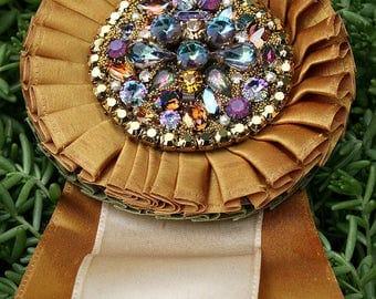 Jewel Encrusted Altered Vintage Show Ribbon Vintage Rhinestones Crystals Jeweled Jewelry Shabby Romantic Cottage Original Art Home Decor