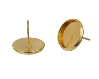 10 pcs. Gold Plated Earring Posts Settings Bezels Cabochons Tacks- 14mm Glue Pad Setting