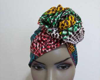 Wax Print Mini African Head Wrap, Head Band/ African Head Scarf Fabric/ African head wraps/ Kids and Adults African Head Scarf