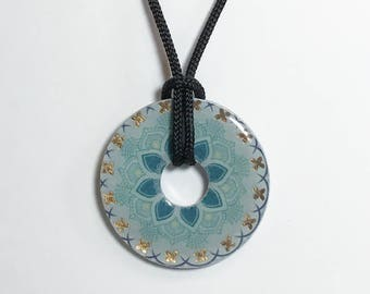 Teal and Turquoise Metal Washer Pendant, Teal and Gold Metal Washer Necklace, Teal Metal Washer Pendant, Turquoise Metal Washer Pendant