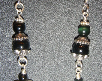 Dangle Heart Pierced Earrings of Black Onyx and Pewter