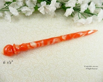 NEW Hair Stick Longer Length Pearly Orange Acrylic