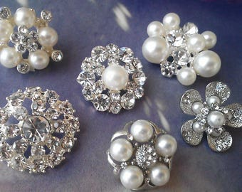 12 Pieces Silver Metal Rhinestone and Pearl Buttons. Assorted Styles. Craft Supply. Sample Set. Bridal Embellishment From the shop zzlaca