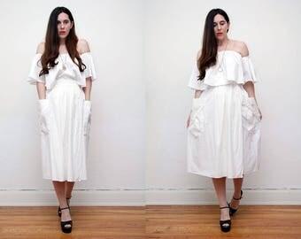 Vintage White Cotton Nautical Batik Boho Hippie High Waist Maxi Skirt 70s