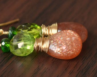 Sunstone Earrings, Autumn Jewelry, Chrome Diopside Peridot Gemstones, Gold Filled, Drop Earrings, Burnt Orange, Fall, Free Shipping