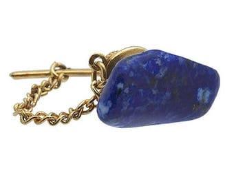 Vintage Gold Tone Tie Tac/Lapel Pin  Blue Stone #751