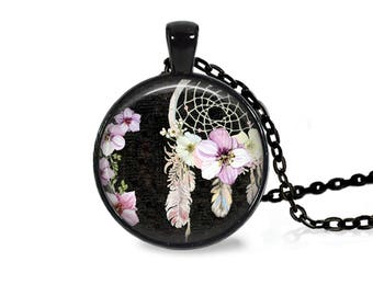 """25mm Dreamcatcher w/ Feathers & Flowers Cabochon Black 18"""" Necklace"""
