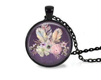 "25mm Flowers & Feathers Purple Cabochon Black 18"" Necklace"
