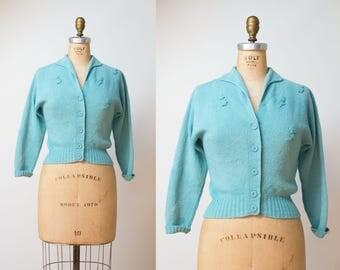 1940s Wool Cardigan / 40s Teal Kimberly Sweater