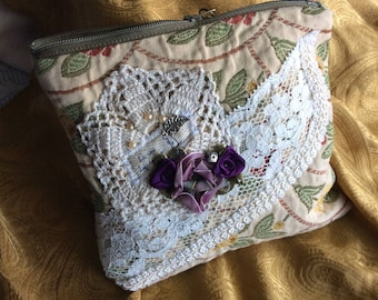 Bohemian Clutch Coin Purse, small handmade fabric bag, makeup pouch, lace embellishment, neutral earth tones, zipper closure S4