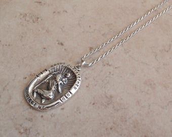 St. Christopher Necklace Sterling Silver Vintage 010116BKH