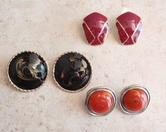 Pierced Earrings Three Pairs Enamel Orange Black Fuchsia Vintage V0520