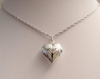Puffy Heart Necklace Sterling Silver Engraved Vintage V0721