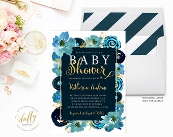 Baby Shower Invitation, Baby Shower Invite, Navy Blue Gold Baby Shower Invite, Baby Boy Shower Invite, Watercolor 5x7 Printable Invitation